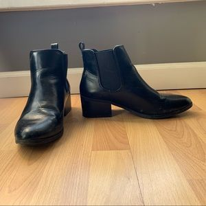 A New Day black leather heel ankle booties